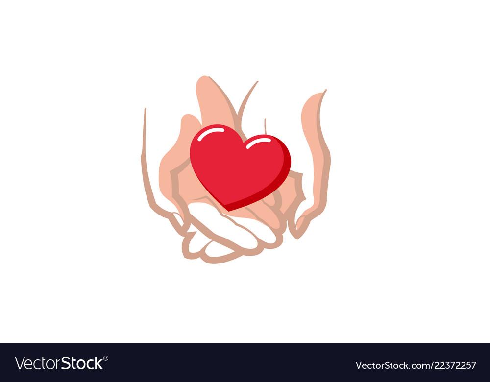 Love giving heart love hands holding logo
