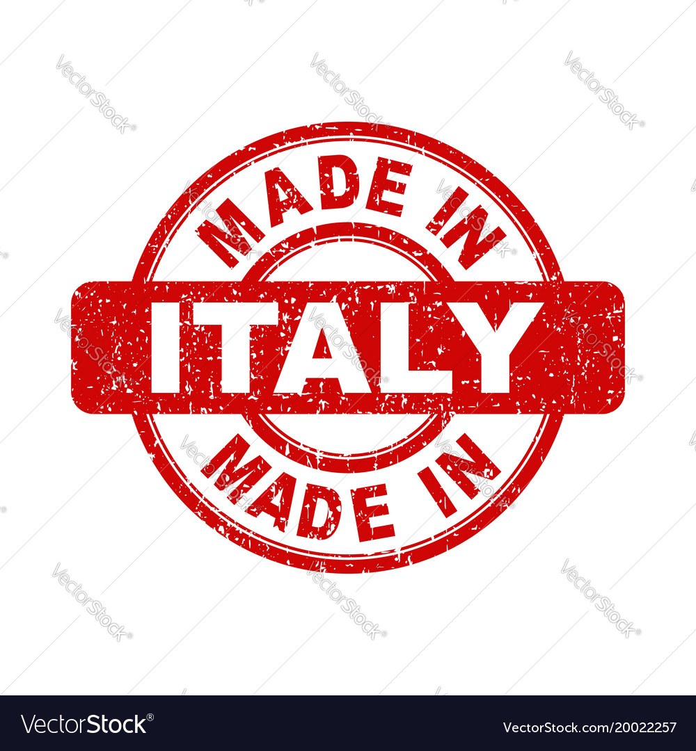 Made in italy red stamp on white background