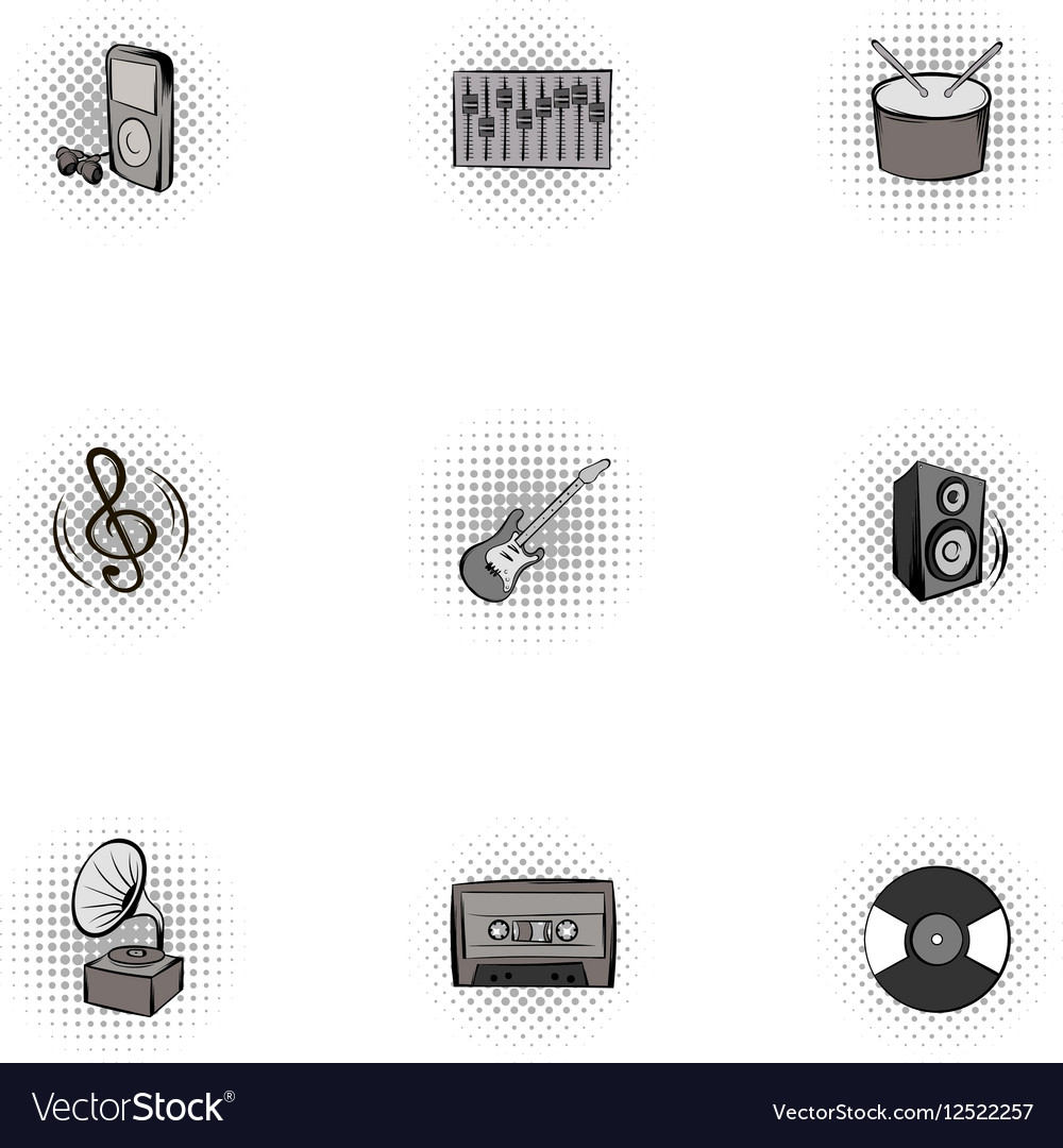 Musical device icons set pop-art style
