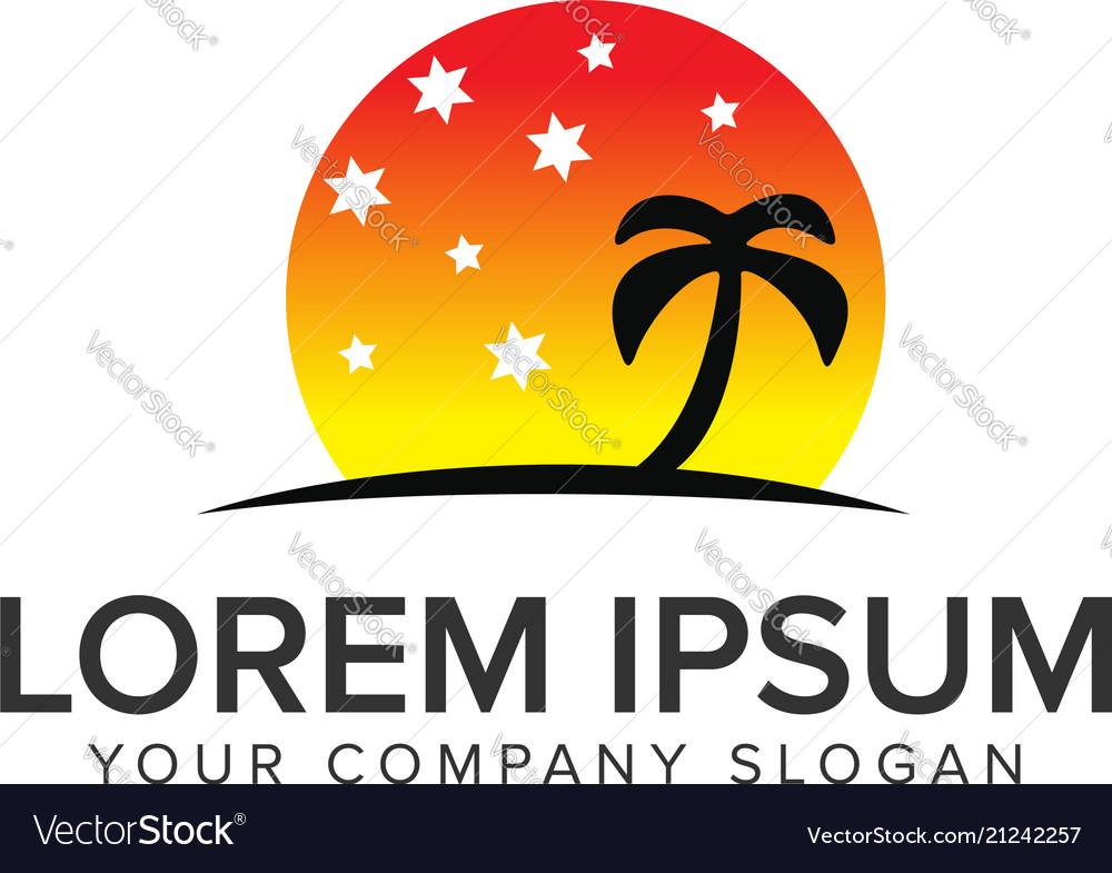 Palm tree with star sun logo design concept
