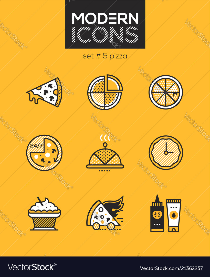 Pizza - set of line design style icons