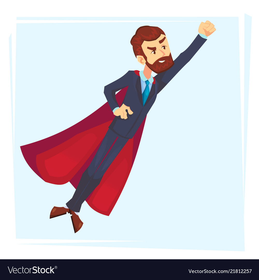 Powerful businessman superhero hero in red cape