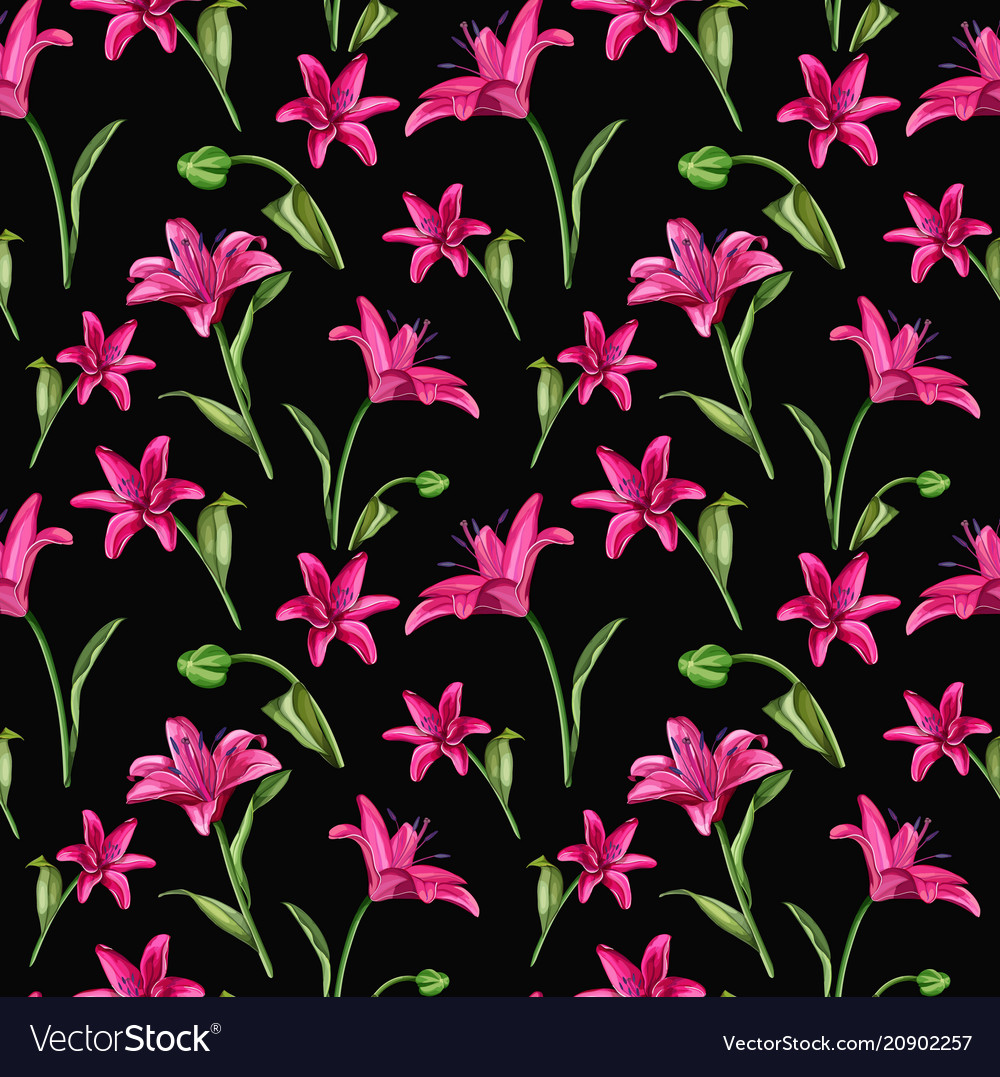 Realistic pink lily blossom leaves stem set