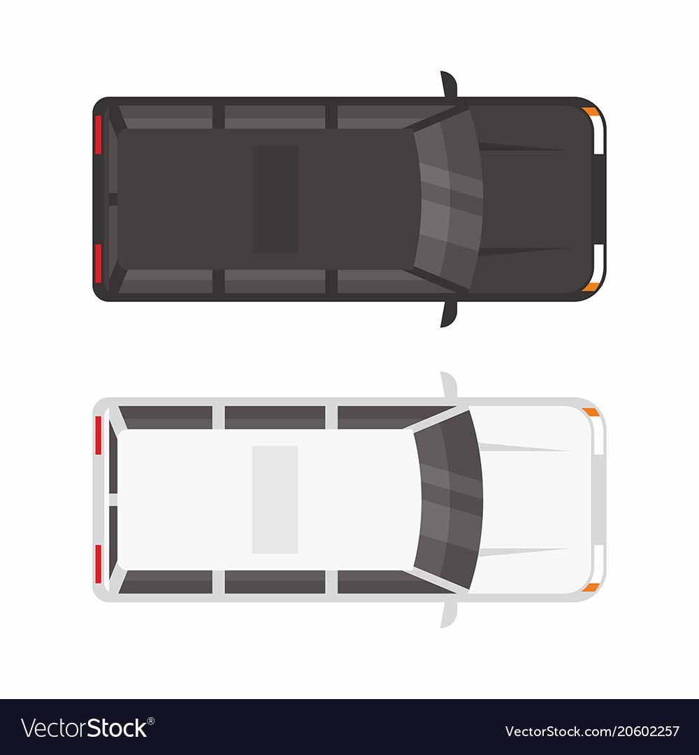 Top view two minivan car