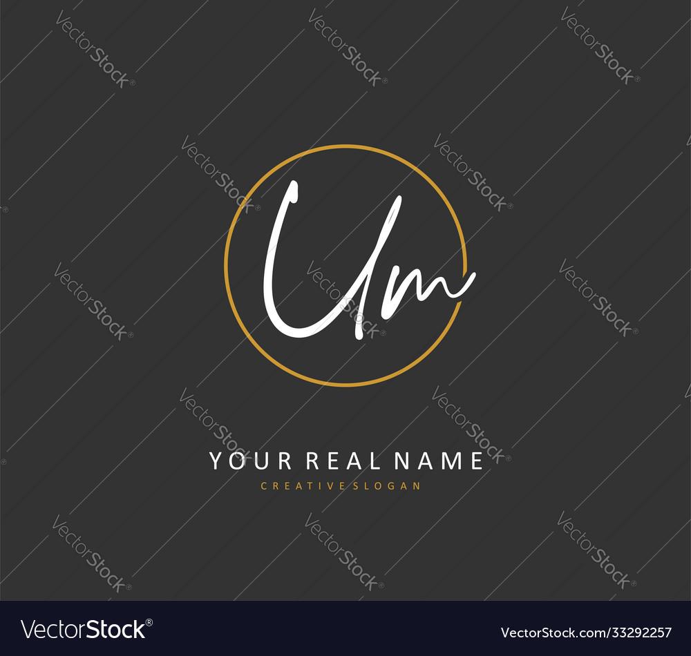 U m um initial letter handwriting and signature