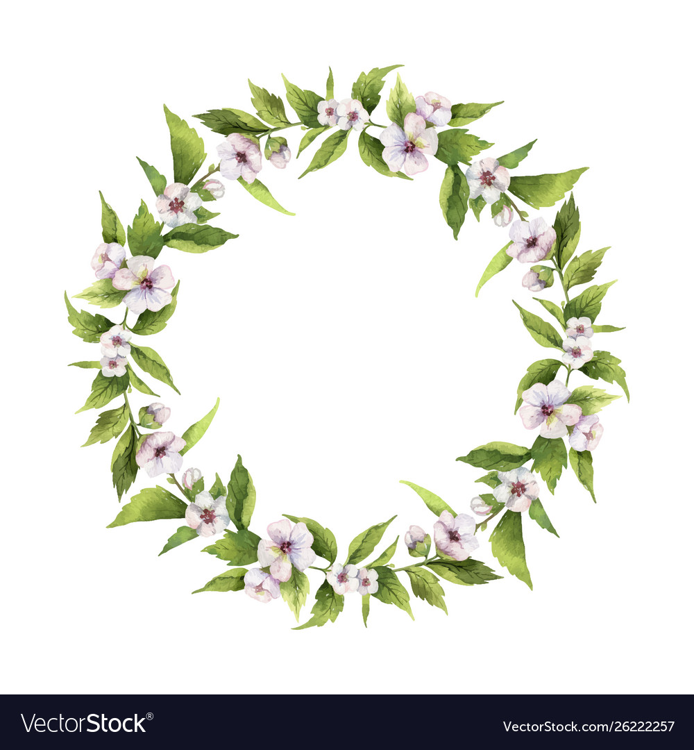 Watercolor hand painted wreaths with