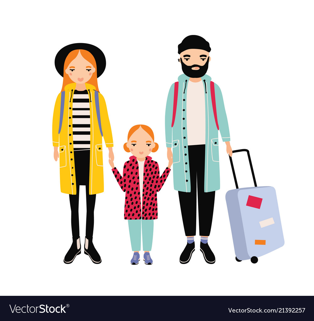 Young traveling family of mother father and