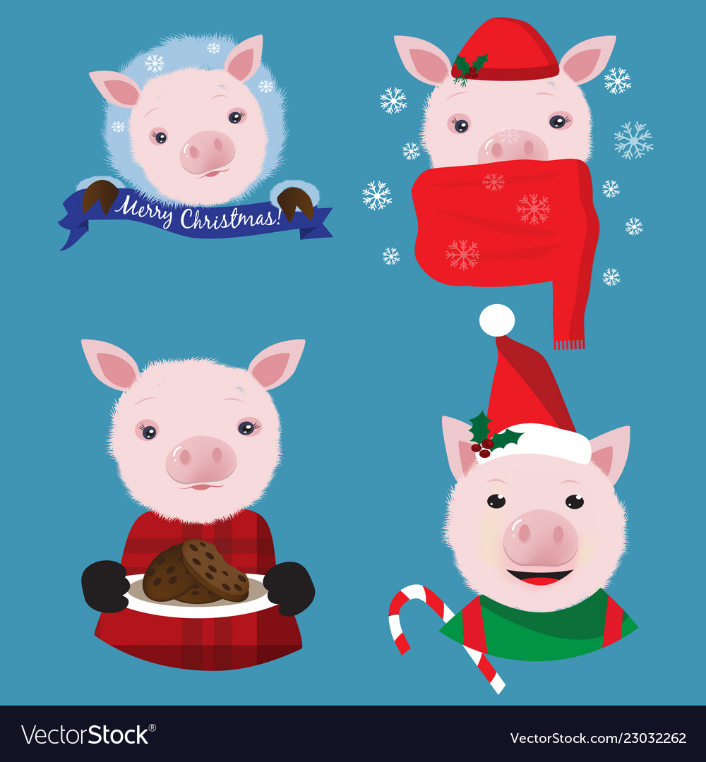 Christmas Pigs.Christmas Collection With Four Funny Pigs On The
