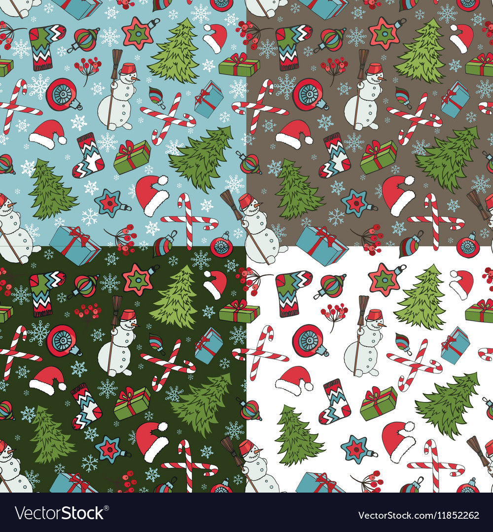 Christmas samless pattern setWinter doodles