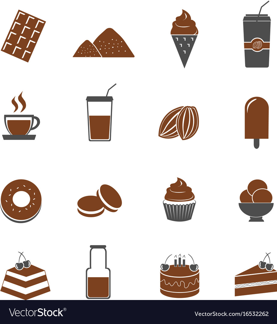cocoa and chocolate icons set royalty free vector image rh vectorstock com chocolate victoria sponge chocolate victoria sponge recipe uk