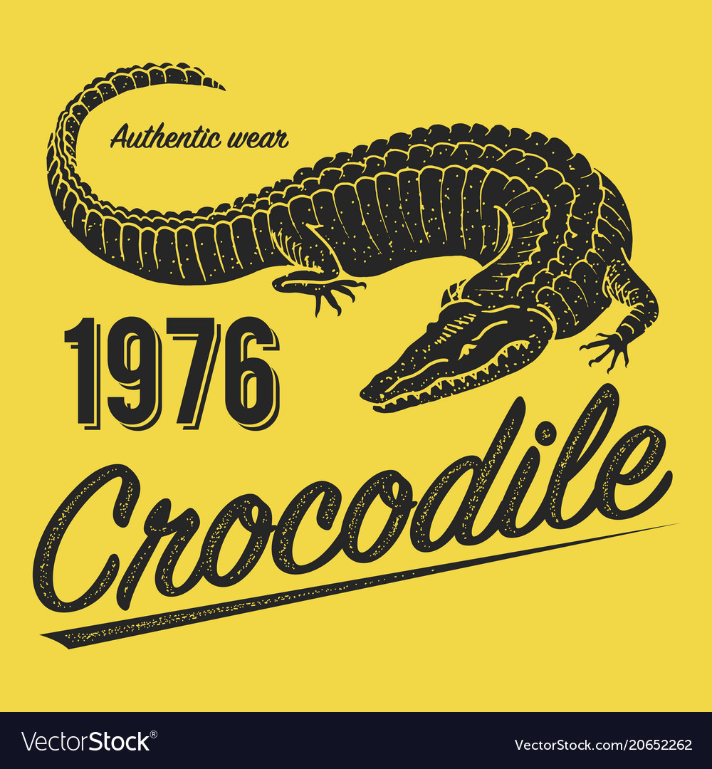 Crocodile Poster Print For T Shirt Alligator Vector Image