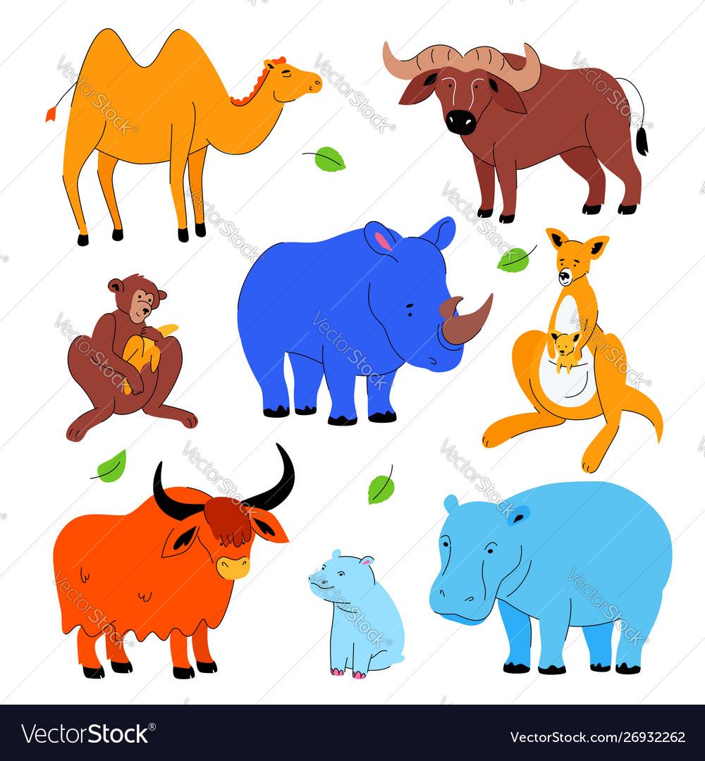 Cute exotic animals - set flat design style