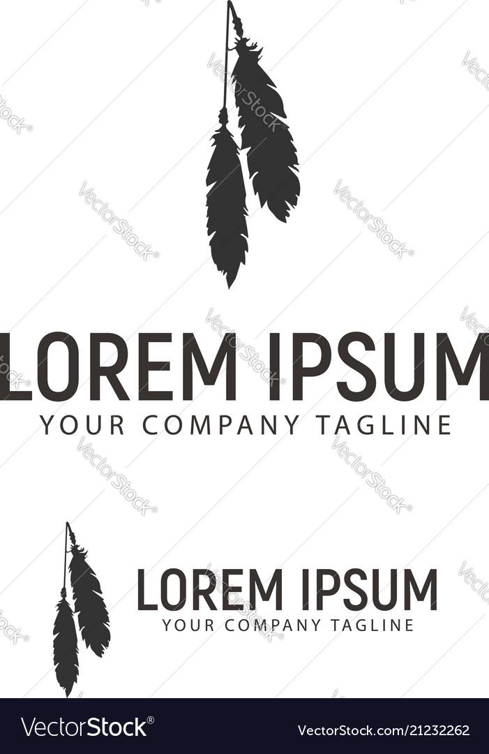 Feather logo design concept template
