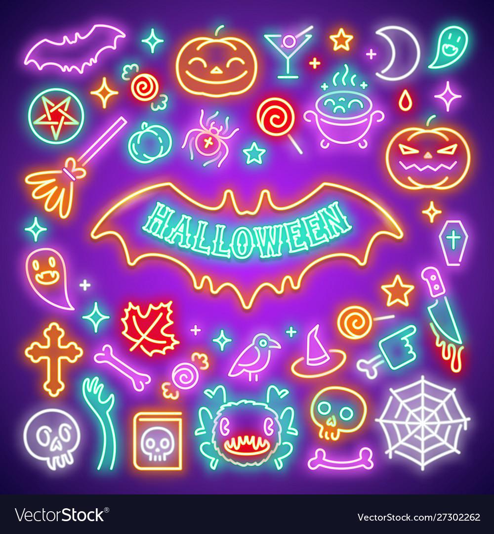 Halloween neon icons set