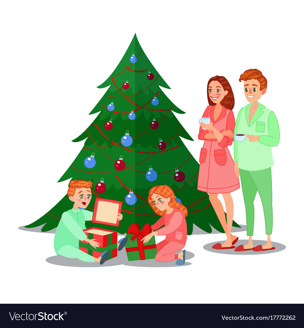 Christmas Gifts For Families.Kids Opens Christmas Gifts Happy Family