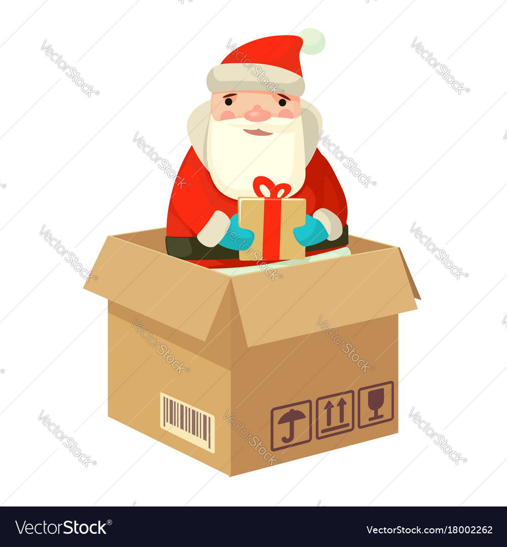 Logistic santa claus with a gift