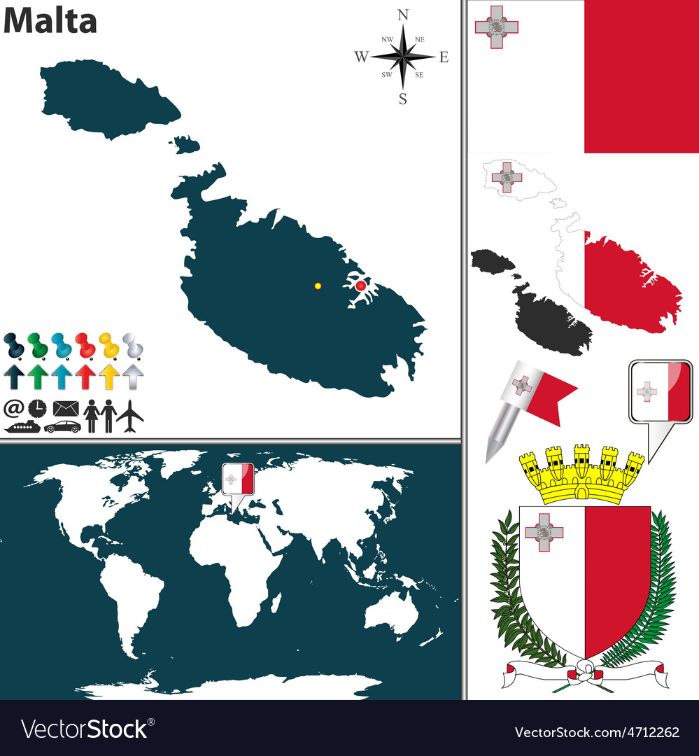 Malta map Royalty Free Vector Image - VectorStock