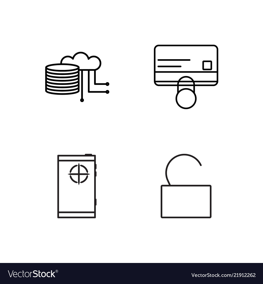 Security outline icons set