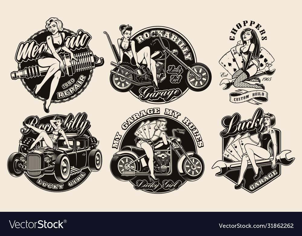 Set vintage pin-up girls