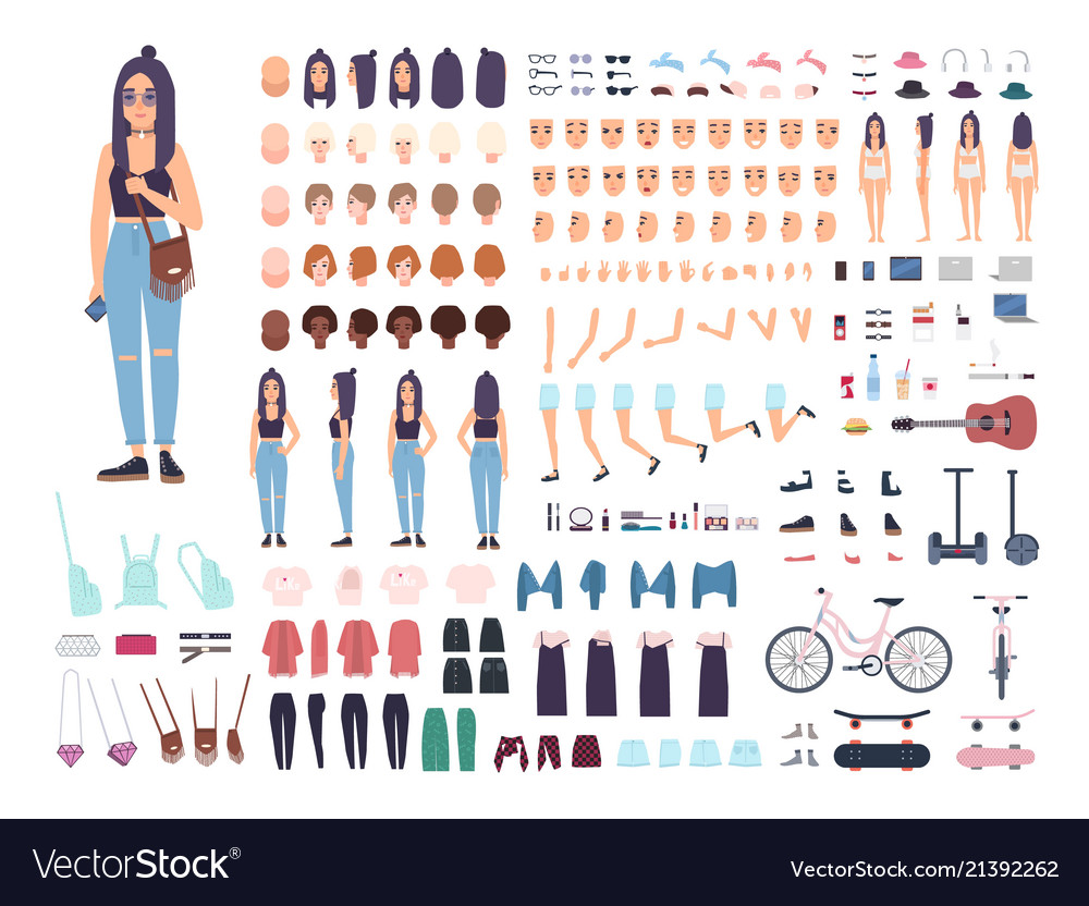 Teenage girl constructor or animation kit set of