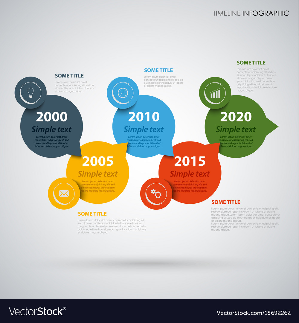 Time line info graphic with colored round design vector image