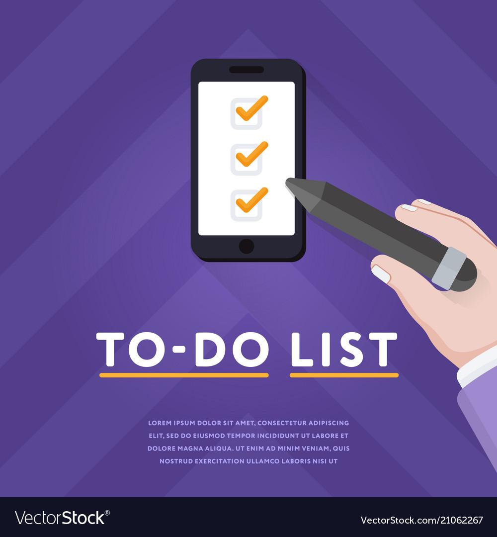 Checklist in smartphone with ticks
