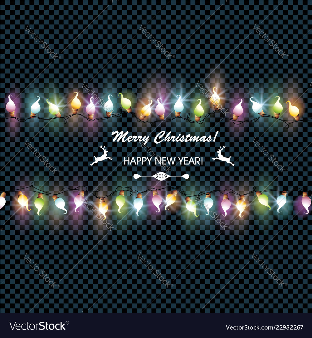 Christmas glowing garland on a dark background
