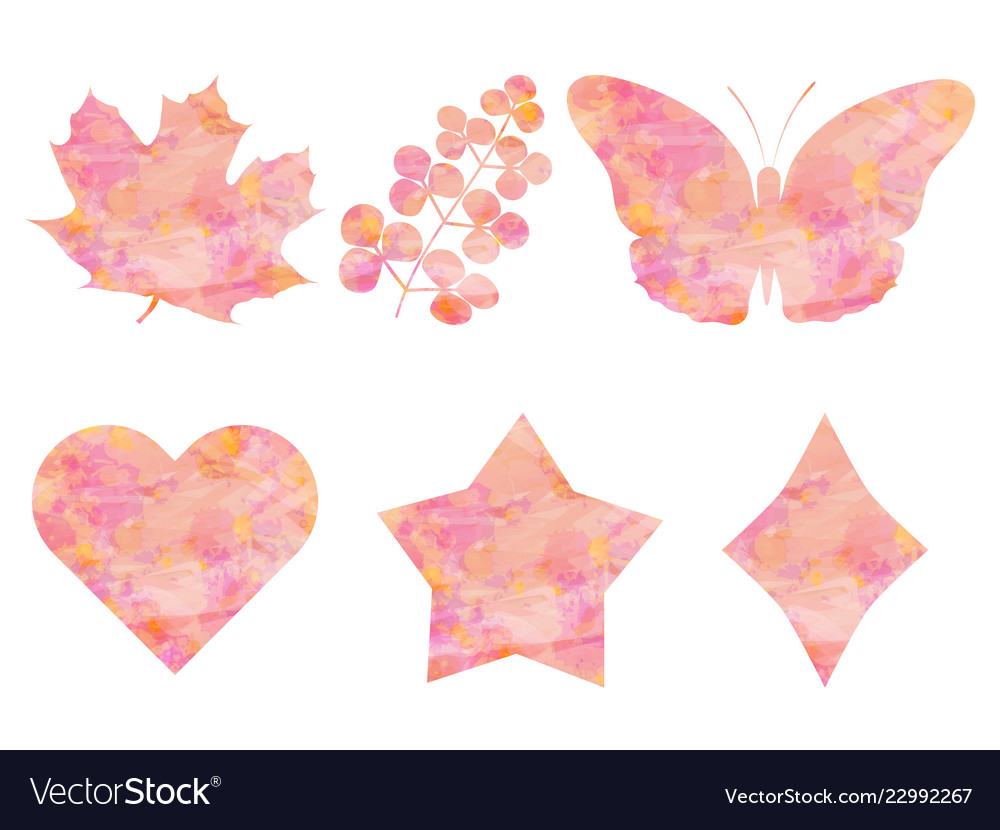 Collection of objects watercolor pink background