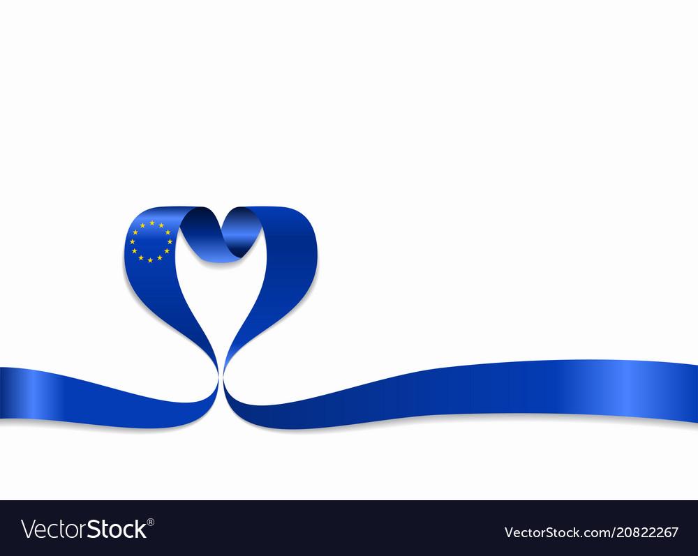 European union flag heart-shaped ribbon