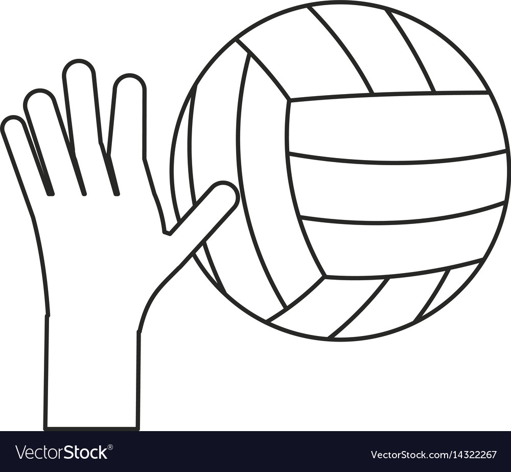 Hand holding volleyball ball sport thin line