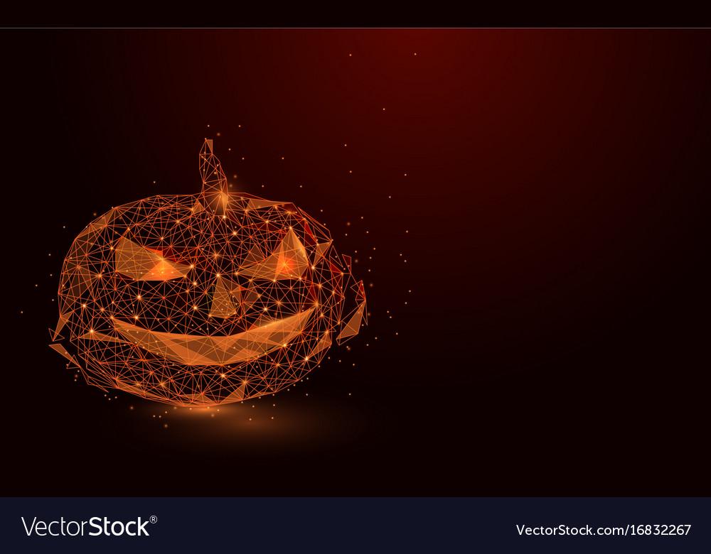 Low polygon orange lines pumpkin mesh background