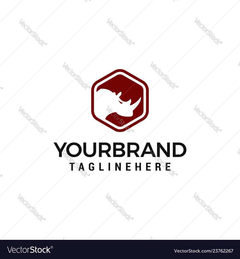 Rhino logo design with hexagon design template