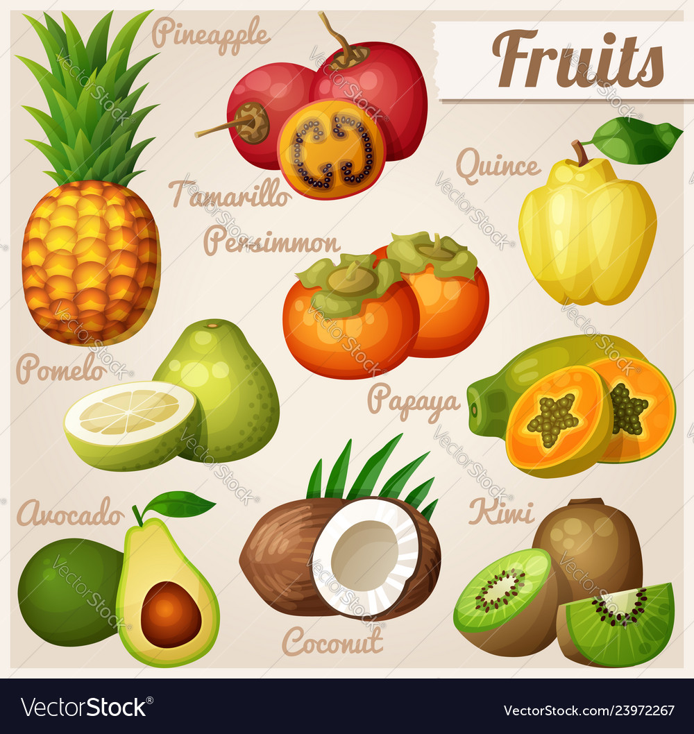Set of cartoon food icons exotic fruits