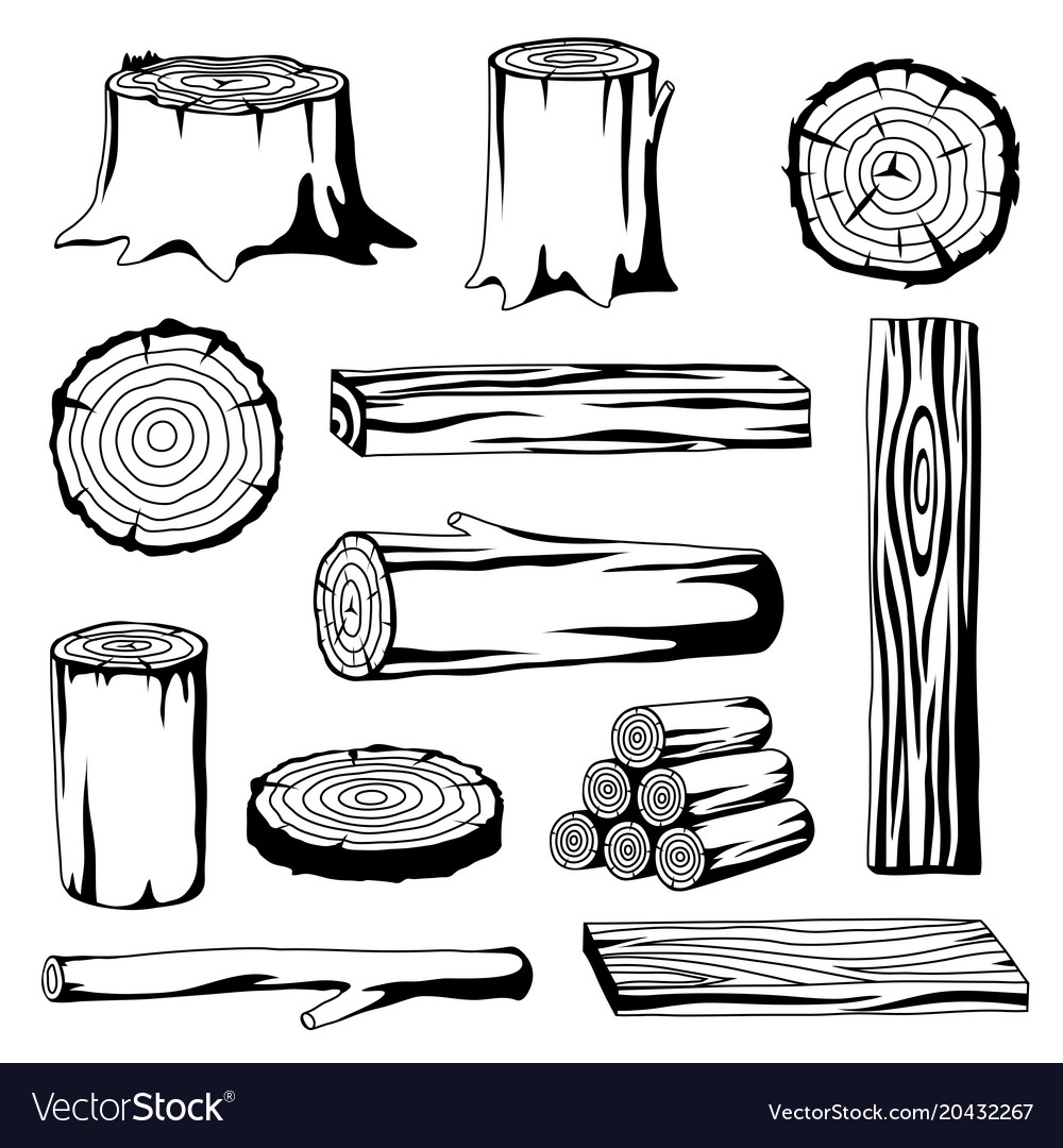 Set of wood logs for forestry and lumber industry vector image