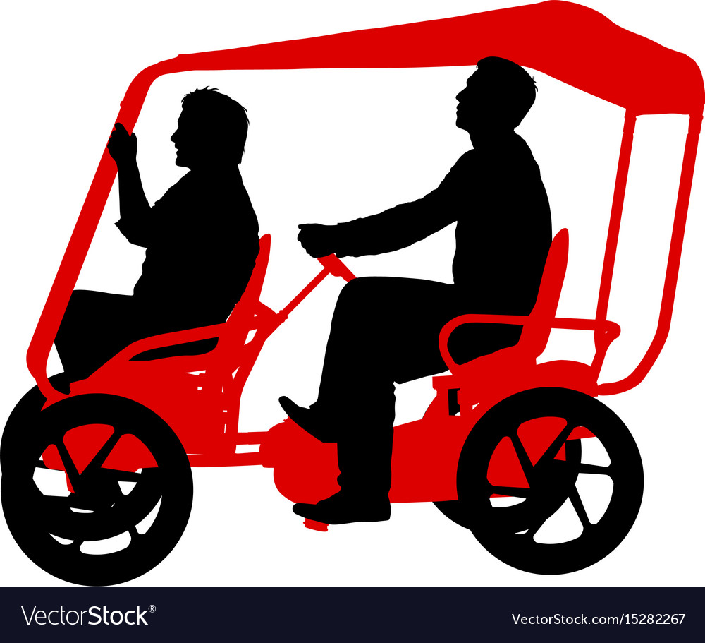 Silhouette of two athletes on tandem bicycle on