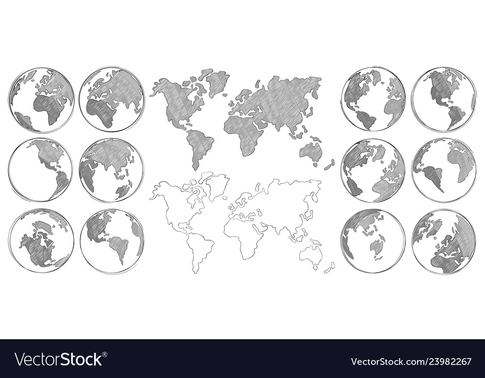 Sketch map hand drawn earth globe drawing world