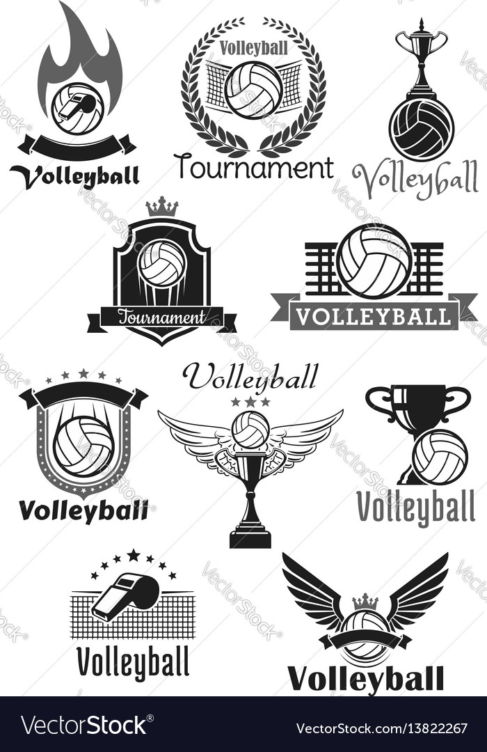 Volleyball tournament sport club icons set