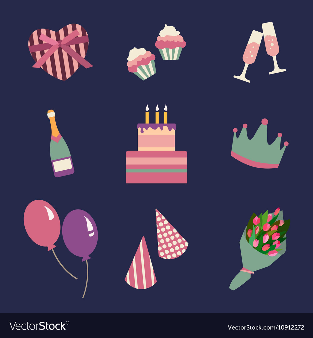 Birthday party icons set and celebration icon