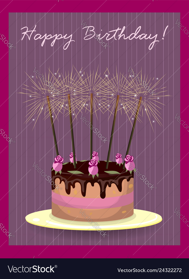 Pleasing Cake With Roses And Sparklers Royalty Free Vector Image Funny Birthday Cards Online Hendilapandamsfinfo