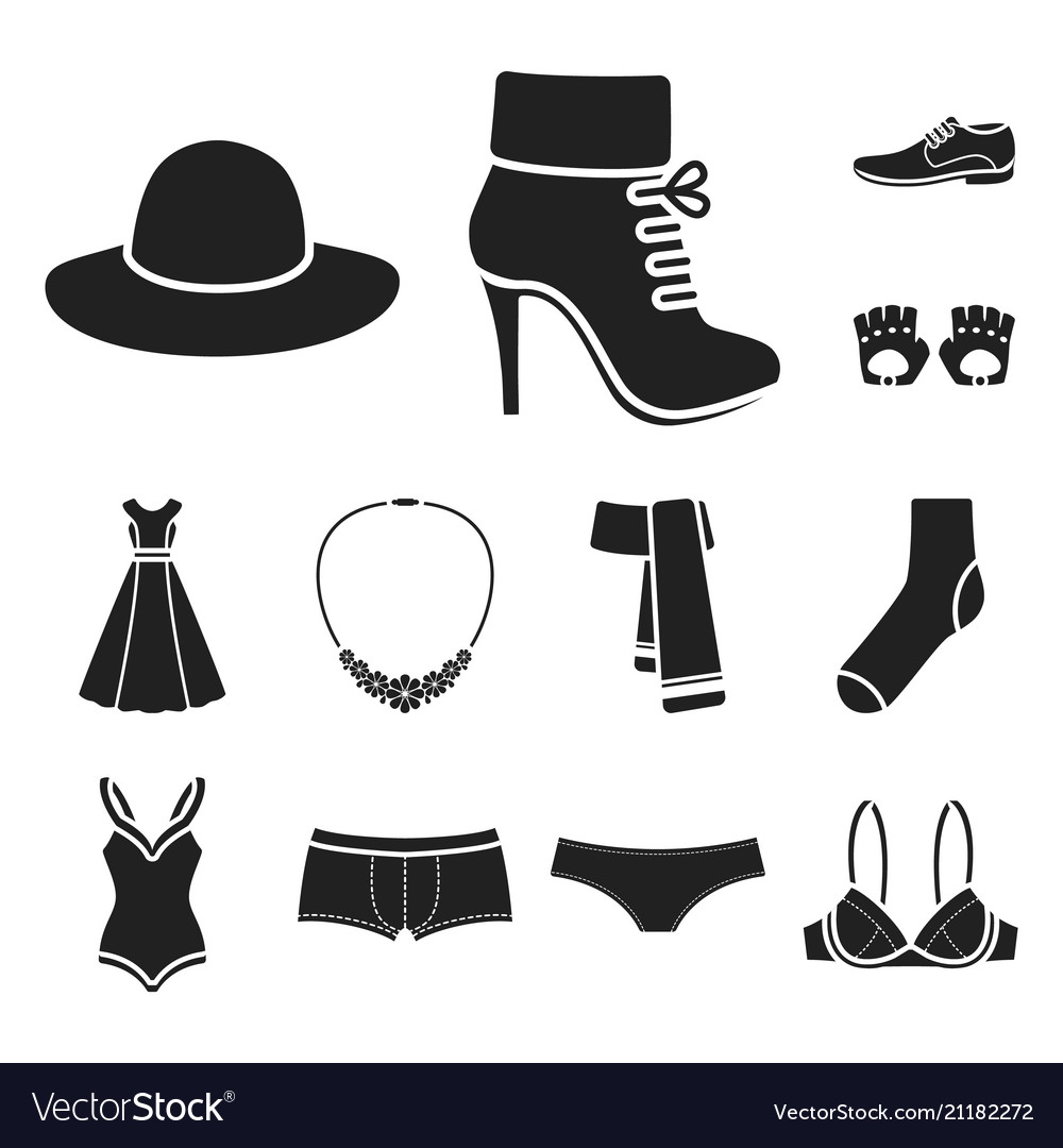 Clothes and accessories black icons in set