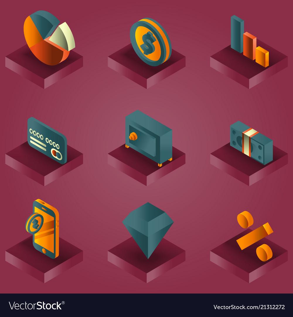 Finance color gradient isometric icons