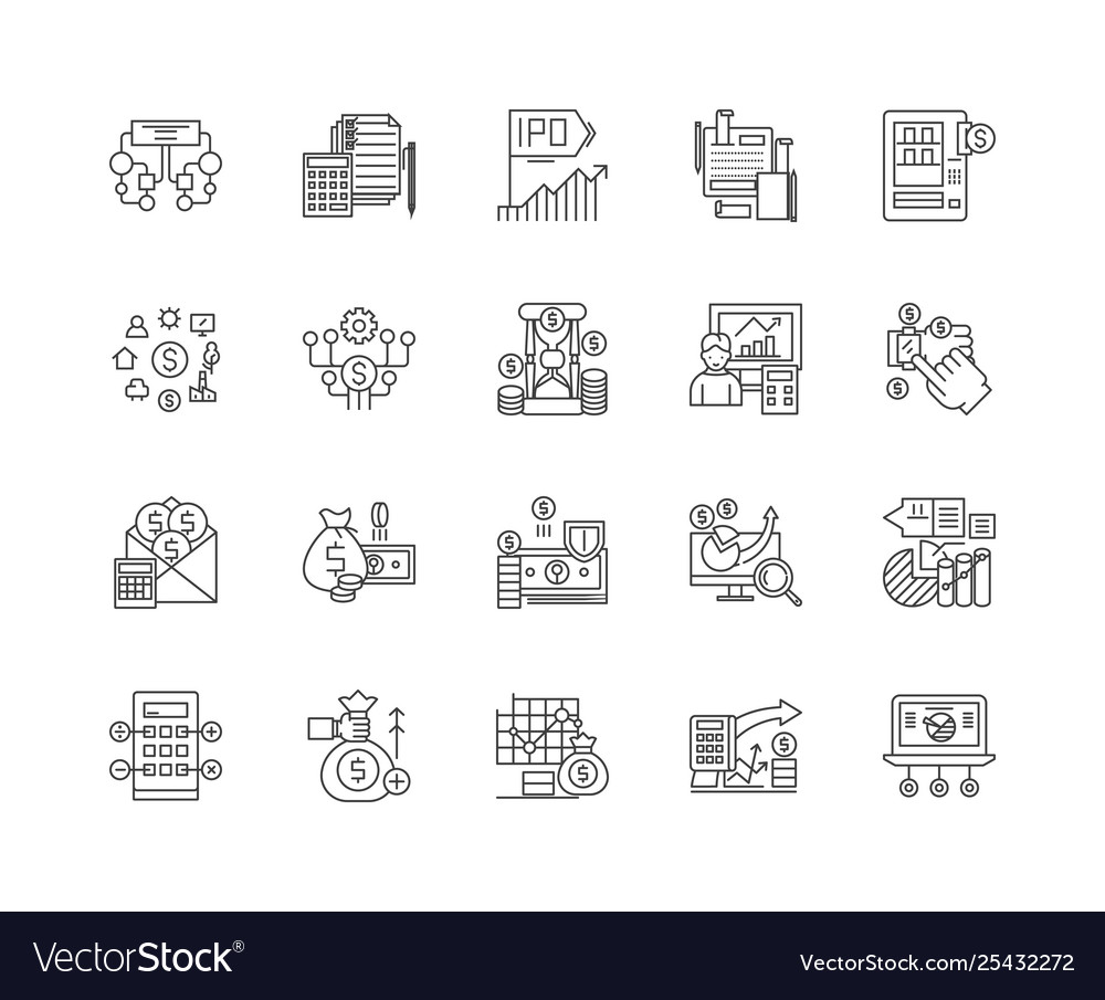 Financial data line icons signs set