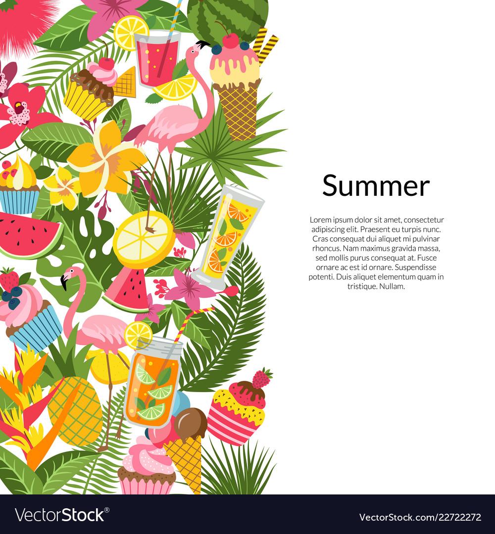 Flat cute summer elements cocktails