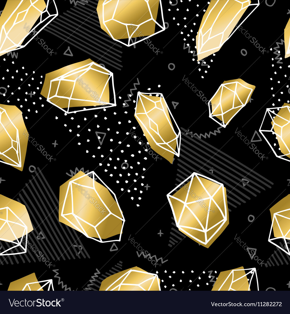 Hand drawn diamond rock seamless pattern in gold vector image