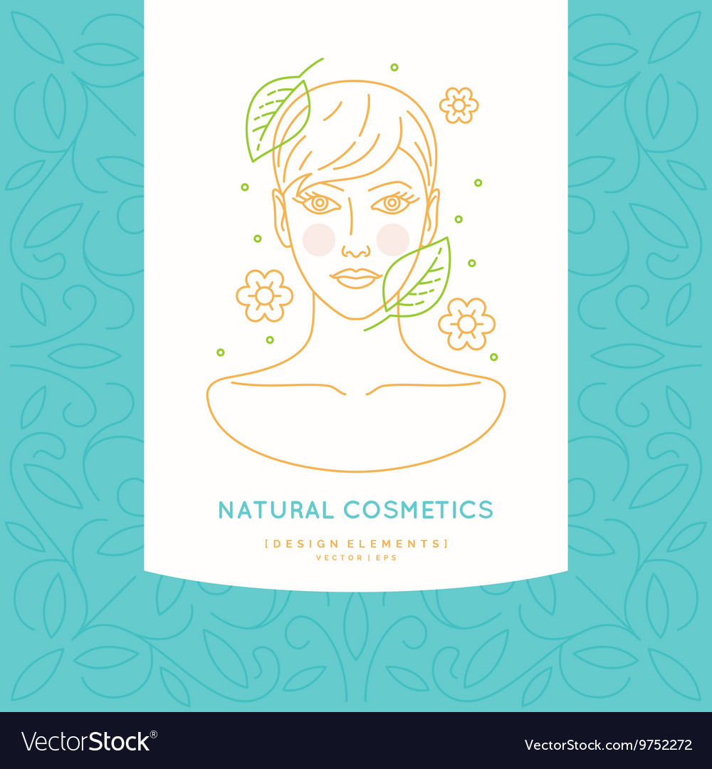 Linear label for natural cosmetics