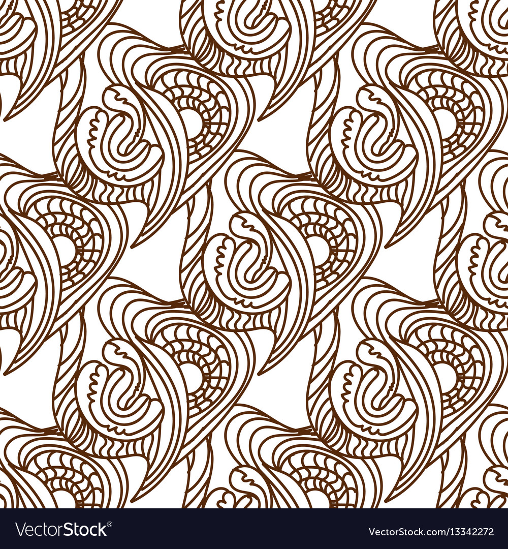 Seamless black and white doodle patter vector image