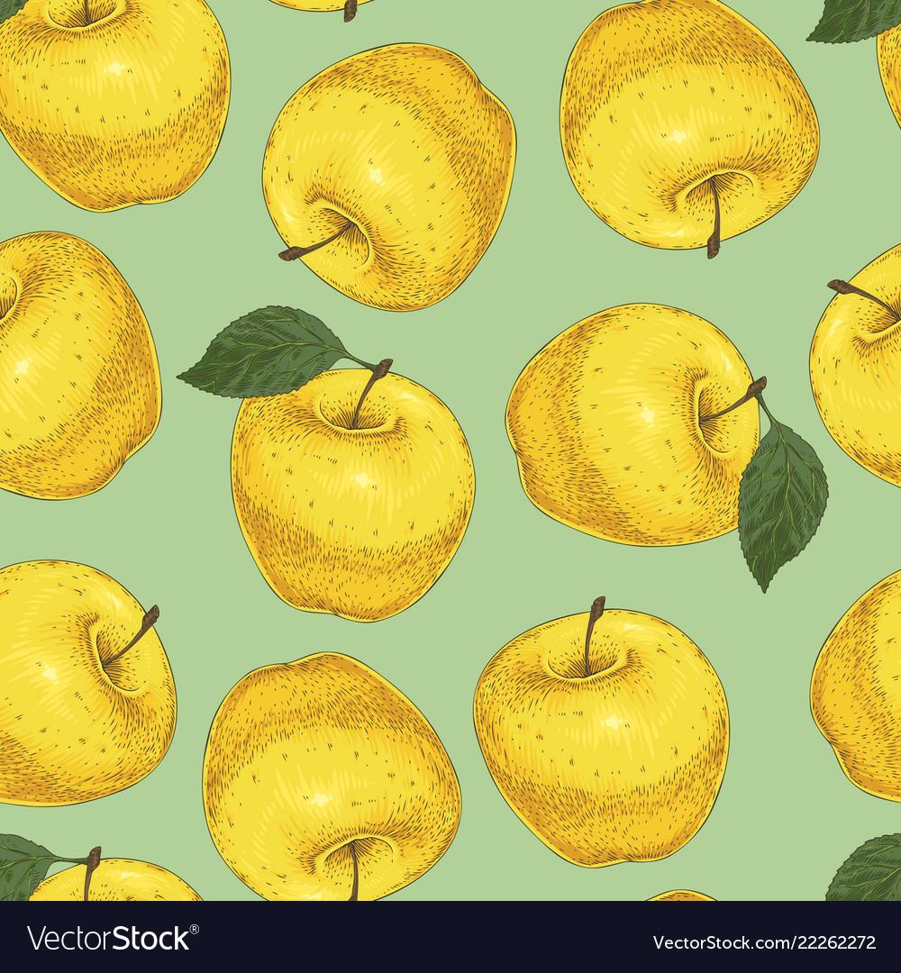 Seamless pattern yellow apples