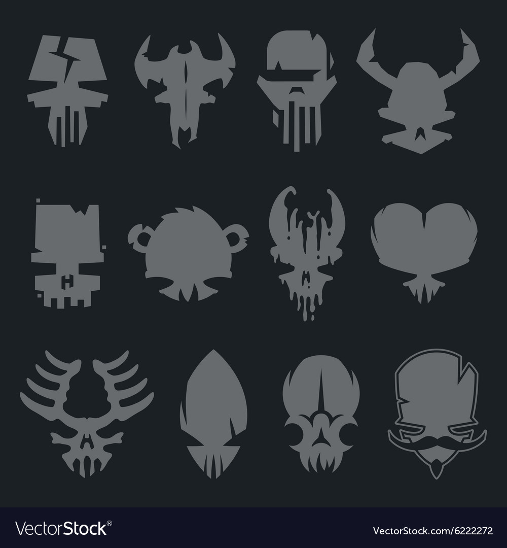 Set Of Scary Monsters Skull Characters Royalty Free Vector