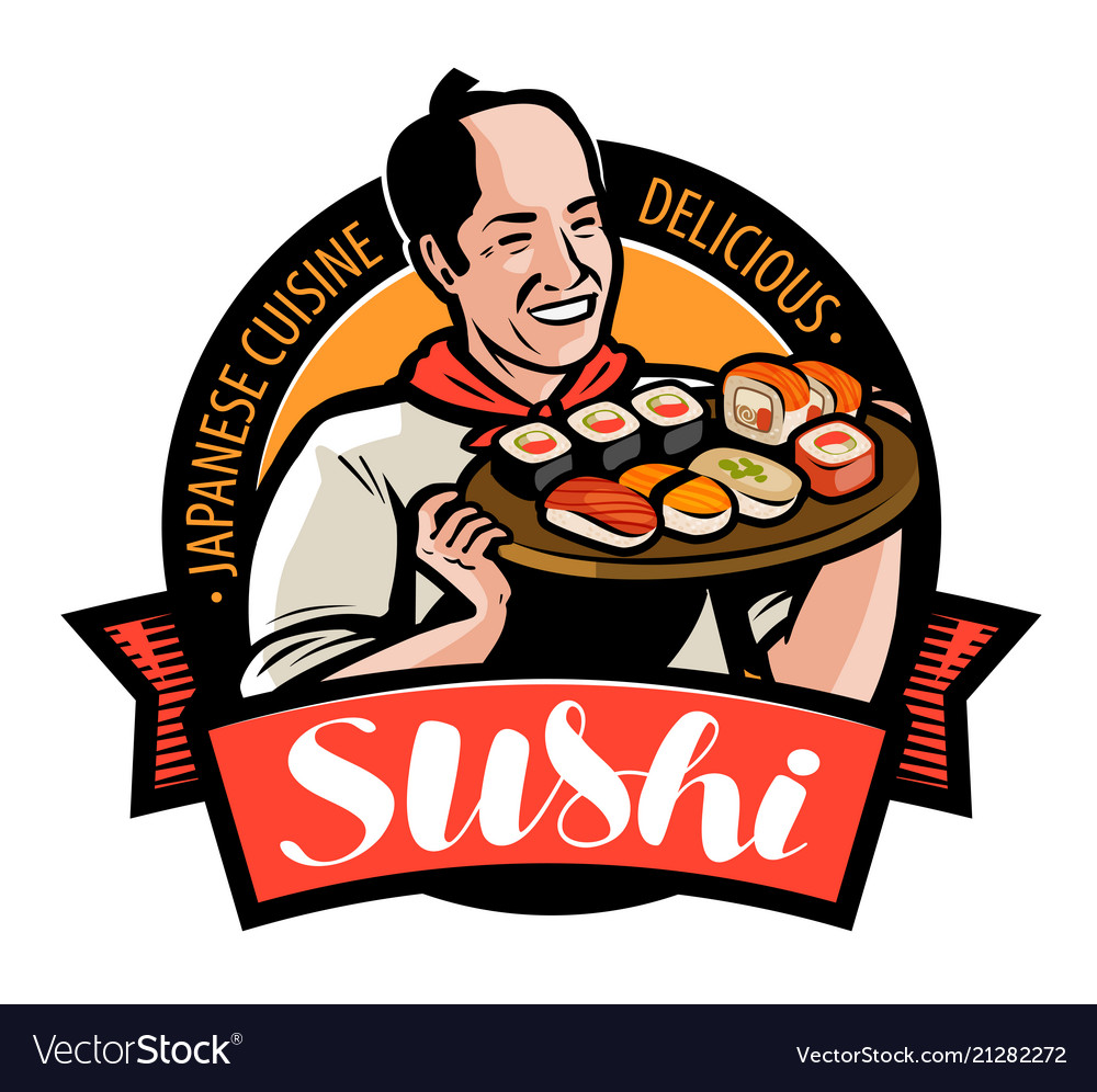 Sushi food logo or label japanese cuisine