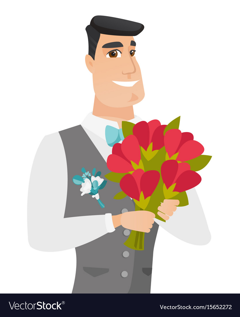 Young caucasian groom with bridal bouquet